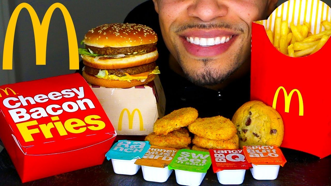 Asmr Mcdonalds Mukbang New Cheesy Bacon Fries Chicken Nuggets Big Mac Big Bites Eating Challenge