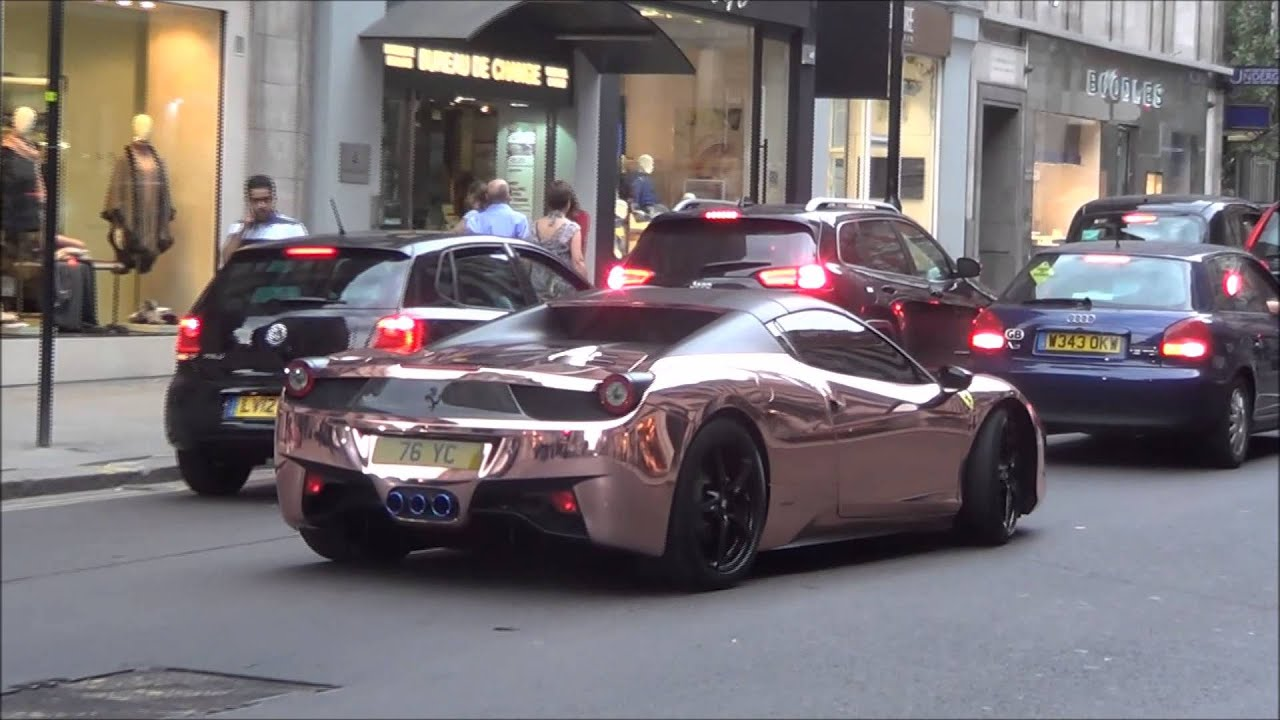 2014 Ferrari 458 Spider >> ROSE GOLD CHROME Ferrari 458 with Armytrix Exhaust Revs and Combos! - YouTube