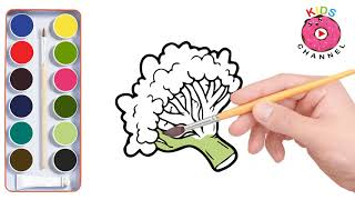 How to Draw Broccoli | Vegetable Coloring | Cartoon Coloring page - Kids Channel