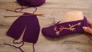 Бесшовные следки с вышивкой спицами | Seamless Slippers knitting pattern