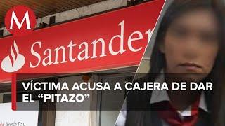 Acusan a cajera de Santander de ser cómplice de robo a cliente; banco lo niega