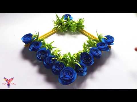 Diy Paper craft Wall Hanging | Beautiful Blue Rose Wall Hanging Home Decor- Best For Home Decoration