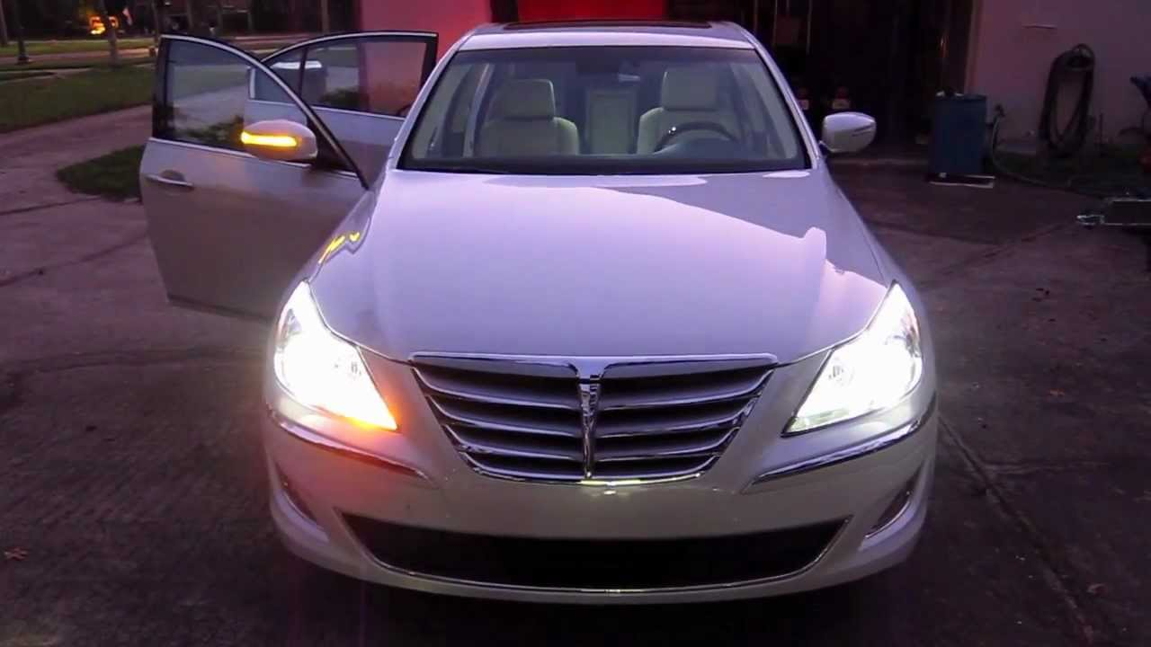 Led Headlight And Taillight Demo 2012 Hyundai Genesis 5 0 V8 Youtube