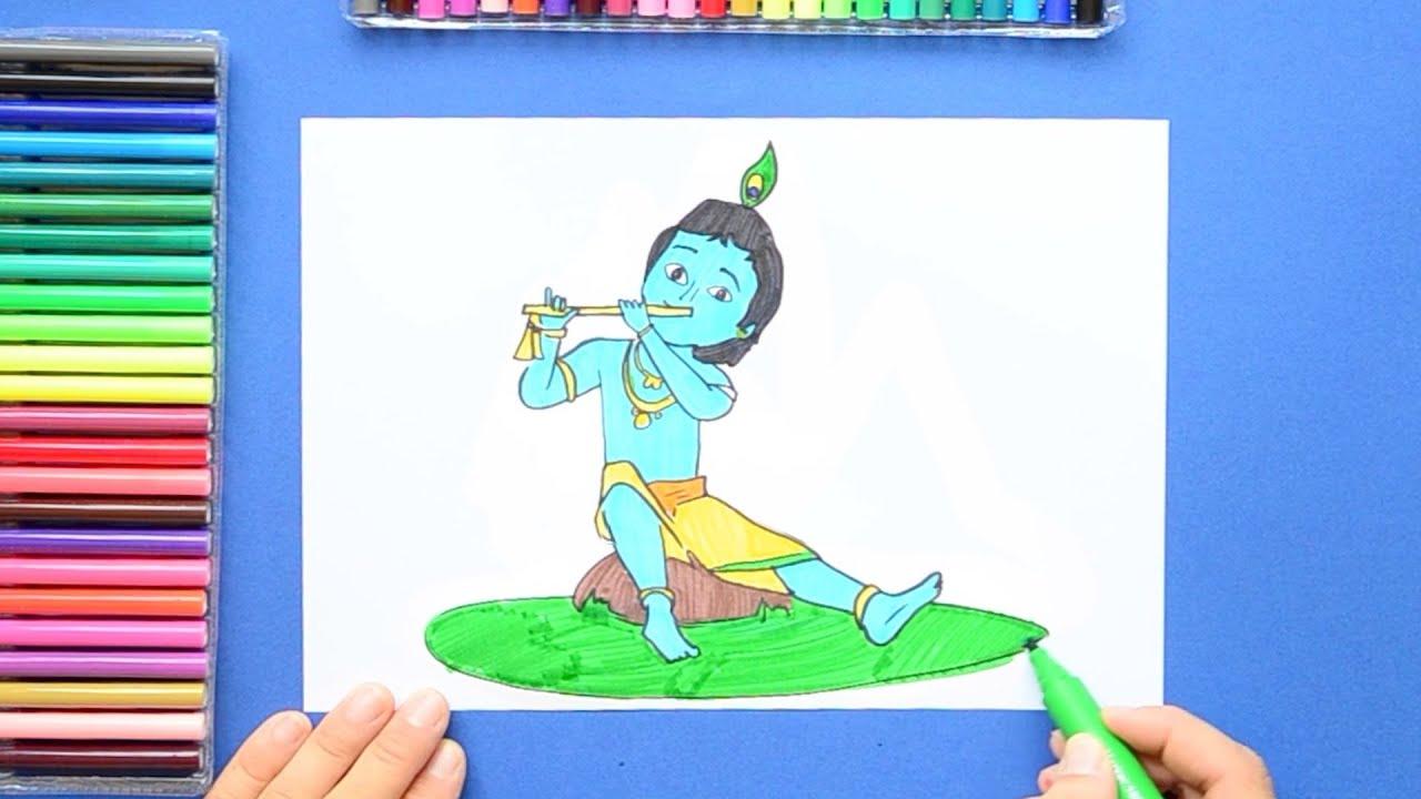 How To Draw Little Krishna Janmashtami Youtube