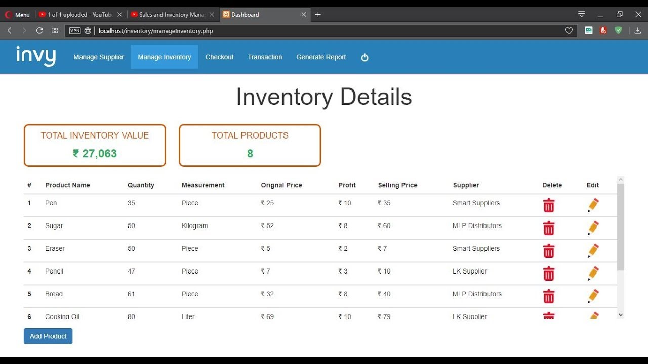 Sales And Inventory Management System Php Mysql Project