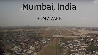 Cockpit view Boeing 757 landing Mumbai, India (BOM/VABB)