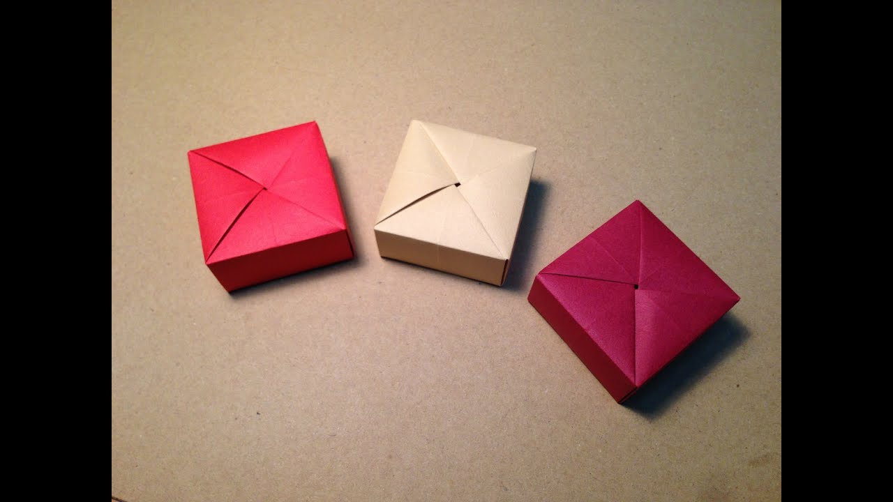 Origami Gift Box With One Sheet Of Paper Youtube