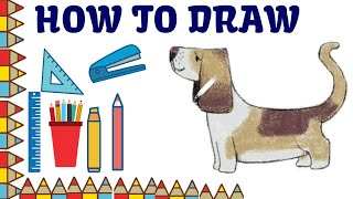 How to draw dog easy step by step and dog coloring