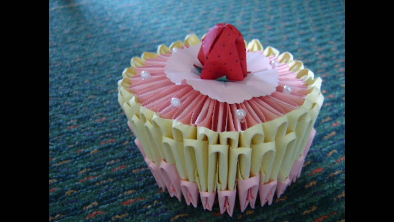 3D origami birthday cake YouTube