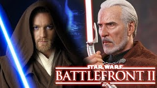 Count Dooku VS Obi Wan Kenobi - Star Wars Battlefront 2 BATTLES!
