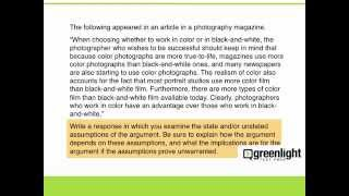 Analytical Writing - 6 - Generating Points Argument Essay 1