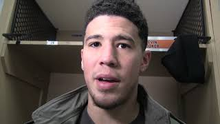 Devin Booker reacts to the Phoenix Suns' loss at Indiana