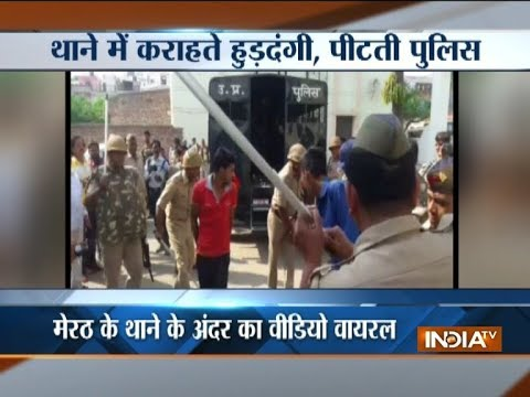 Police thrashes protesters for disturbing law and order in Meerut