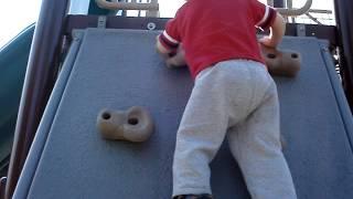 Nic Climbing A Rock Wall (age 3)