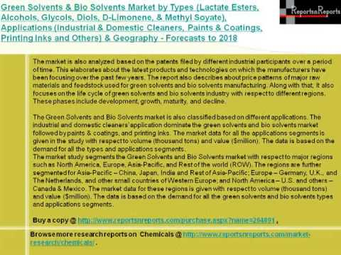 Green Solvents & Bio Solvents Market Forecasts to 2018