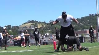 USC OT target Penei Sewell 1v1 drills Oakland Regional