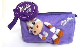 Milka special see through PVC and Plush pouch 3 pack chocolates Vanity Bag at Duty Free Shops