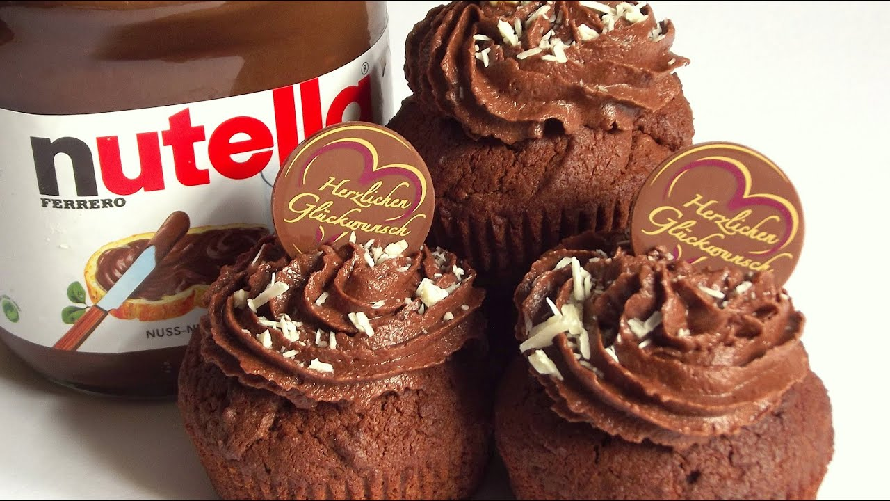 nutella muffins rezept cupcakes mit nutella frosting youtube. Black Bedroom Furniture Sets. Home Design Ideas