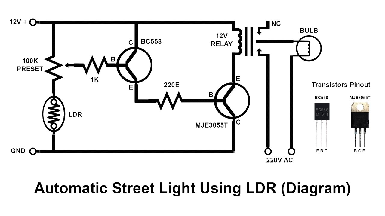 automatic street light circuit diagram using ldr and relay