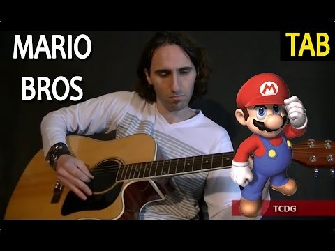How to Play Mario Bros on Acoustic Guitar / Full Song Tab-Tutorial Lesson by Mario Freiria TCDG