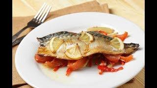 Рыба запеченная с овощами в духовке. Вкусный простой и полезный ужин.