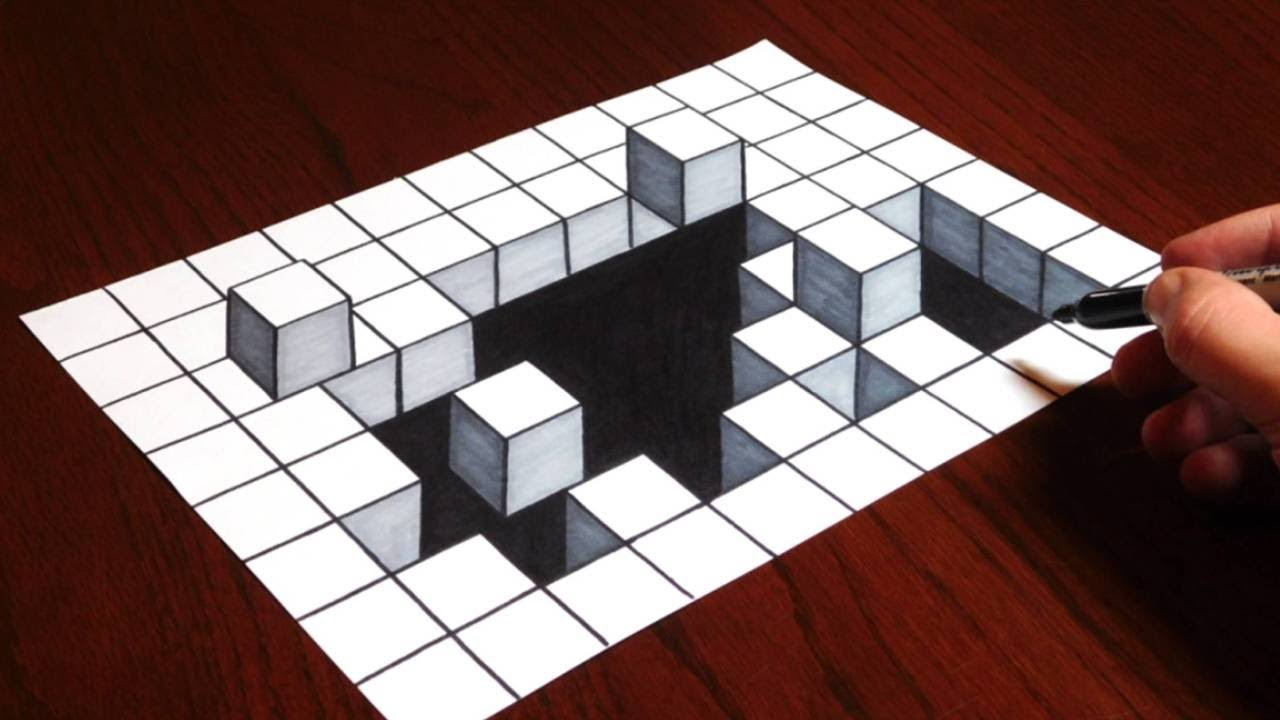 illusion optical 3d draw drawing cubes hole illusions cube drawings