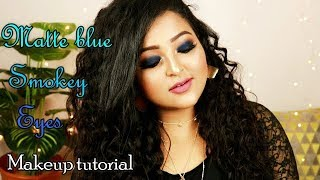 How to do Matte Blue Smokey Eyes?|| Matte blue smokey eyes||Makeup tutorial using Drugstore products