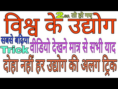 GK Trick | विश्व के उद्योग ट्रिक के साथ | World Industry With Trick | Tricky Education