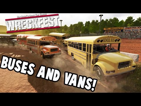 wreckfest gameplay figure 8 fun with buses and vans next car game