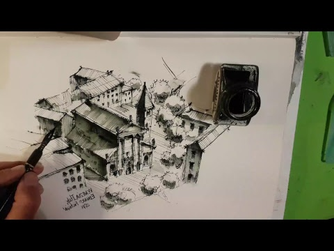 Как рисовать город - архитектурный скетчинг. Италия. Кичигин Эдуард