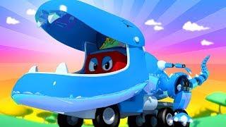 Carl der Super Truck - Jurassic - Spezial Folge: T-Rex Roboter Lastwagen - Cartoons für Kinder 🚓 🚒