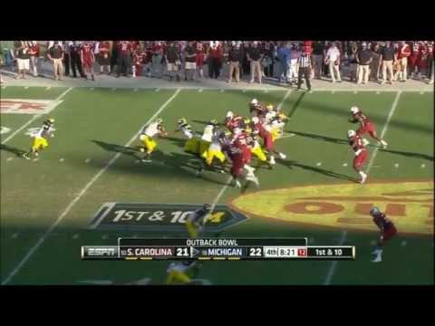 Clowney Hit vs Michigan 2013 Outback Bowl