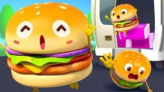 快跑!汉堡 | 美食兒歌童謠 | 汉堡卡通動畫 | 寶寶巴士 | 奇奇 | BabyBus