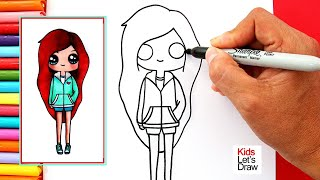 Cómo dibujar y pintar una CHICA TUMBLR PELIRROJA | How to Draw a Cute Redhead Girl