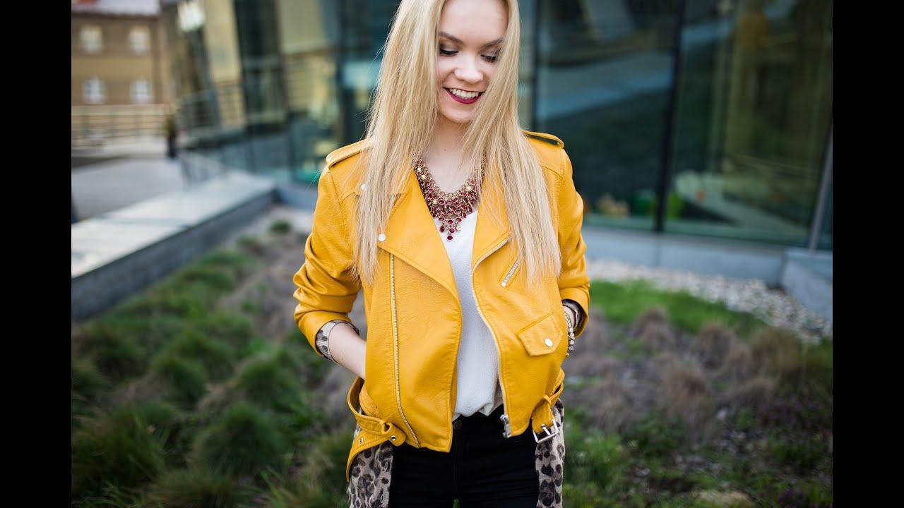 Leather jacket yellow zara - Lookbook Yellow Leather Jacket