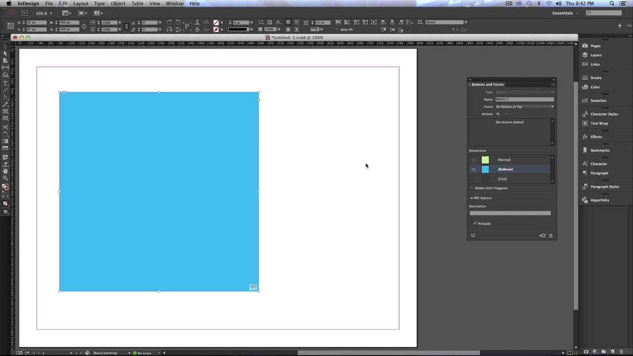 Creating Rollovers Buttons in InDesign