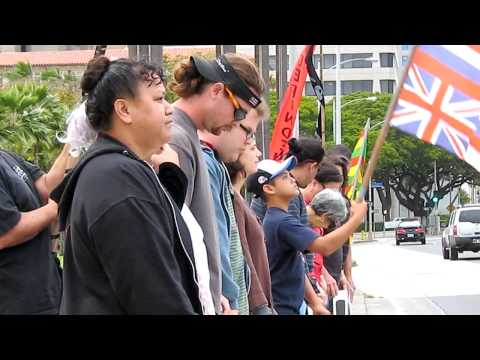 Hawaiian Independence Action Alliance Demonstrates at the Hawaii State Capitol
