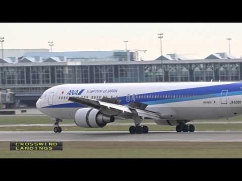 All Nippon Airways Boeing 767-300 |  Close-Up Plane Spotting Arrivals (1080HD) | Crosswind Landings