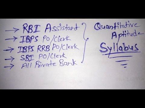Quantitative Aptitude Syllabus for Banking Examination
