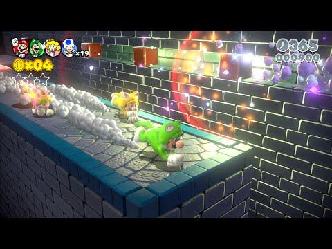 Super Mario 3D World: 5-5 Bob-ombs Below (100 % All Stars & Stamp) [Gameplay Walkthrough]
