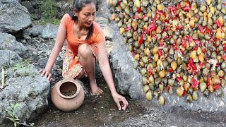 Finding Shell To cook on the Rocks Use the heat of the Sun for Dinner - Food my village Ep 6