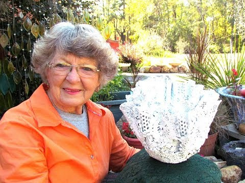 My Draped  Mother's old crochet doily and dollar tree's creation pot. Ga. USA