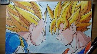 DESENHANDO (Goku & Vegeta) Resimi