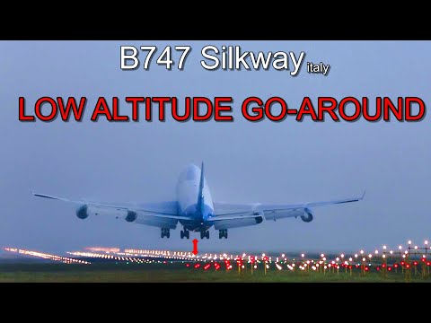 Amazing, B747 LOW ALTITUDE GO-AROUND but why?: SILKWAY italy [inc. ATC. real aviation]