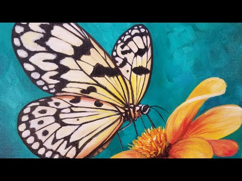 BUTTERFLY Acrylic Painting Tutorial Livestream