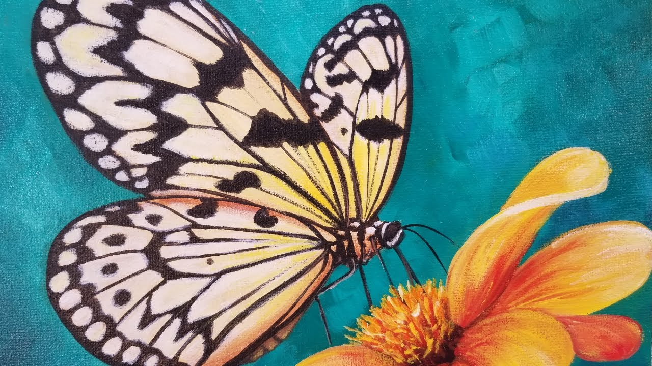 BUTTERFLY Acrylic Painting Tutorial Livestream - YouTube