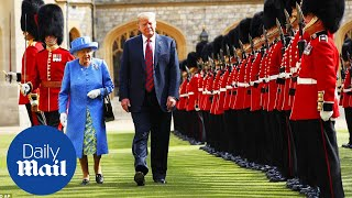 President Trump and First Lady are greeted by the Queen - Daily Mail