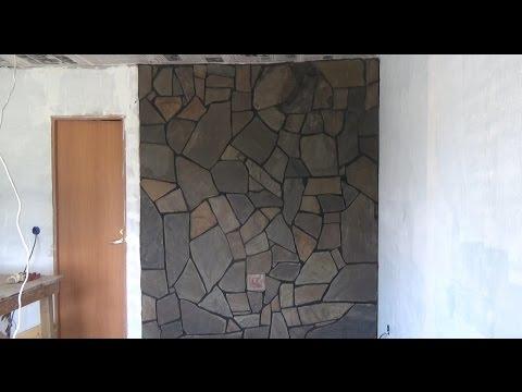 Как обложить печь камин камнем речным плитняком как сделать раствор  часть-2