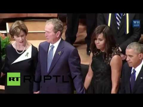 USA: George W. Bush DANCES to Battle Hymn at Dallas memorial