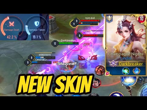 LINDIS NEW SKIN CHAMPAGNE NIGHTS SOLO RANK | AoV | 傳說對決 | RoV | Liên Quân Mobile